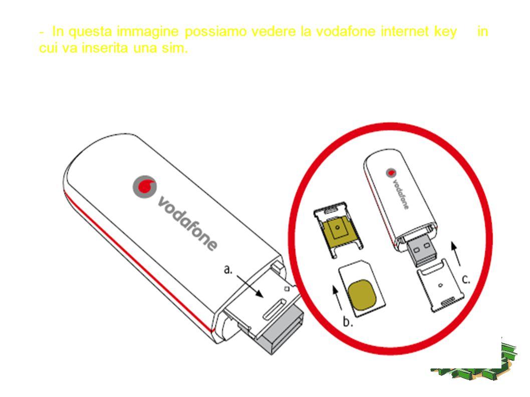 - In questa immagine possiamo vedere la vodafone internet key in cui va inserita una sim.