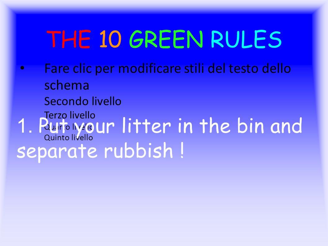 Fare clic per modificare stili del testo dello schema Secondo livello Terzo livello Quarto livello Quinto livello THE 10 GREEN RULES 1.