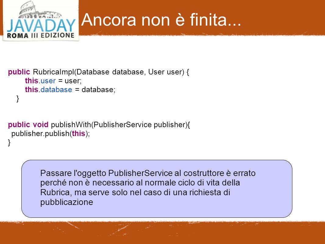Ancora non è finita... public RubricaImpl(Database database, User user) { this.user = user; this.database = database; } public void publishWith(Publis