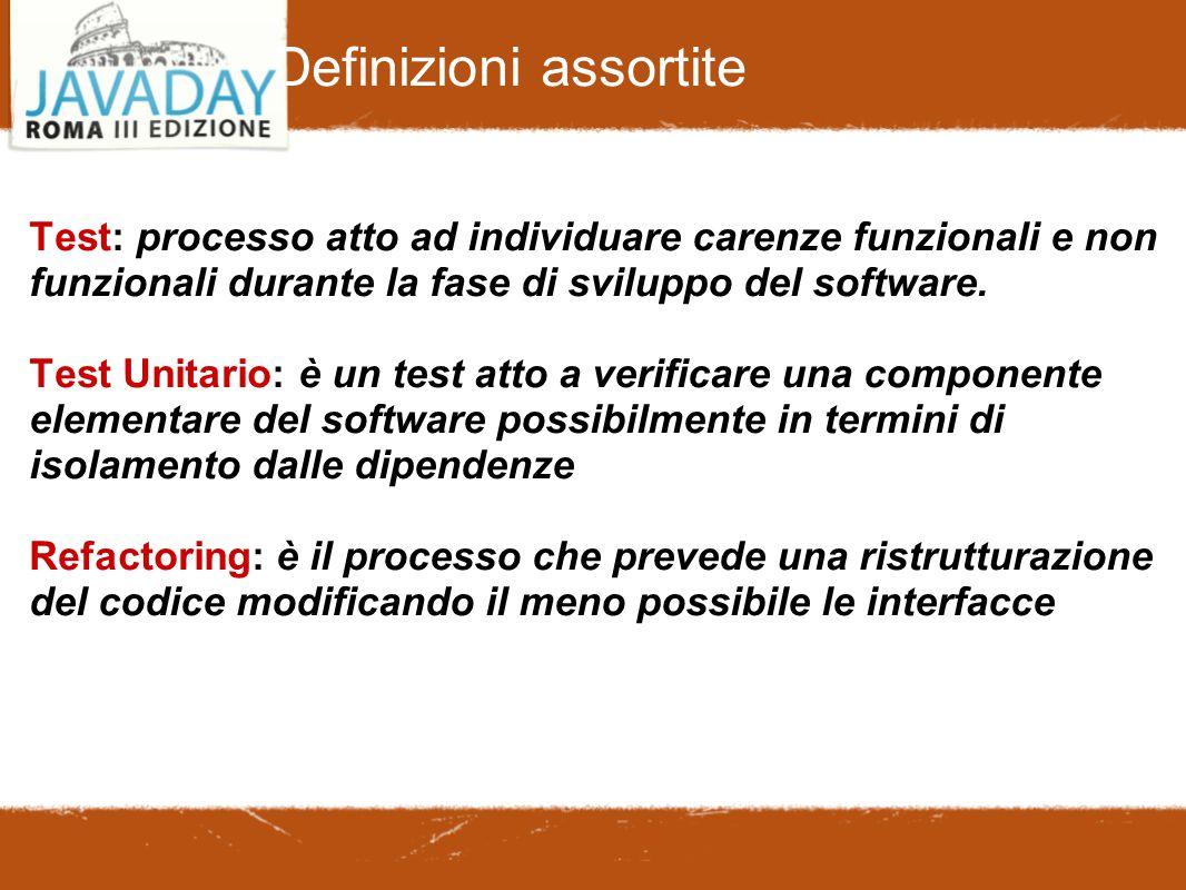 Definizioni assortite Test: processo atto ad individuare carenze funzionali e non funzionali durante la fase di sviluppo del software. Test Unitario:
