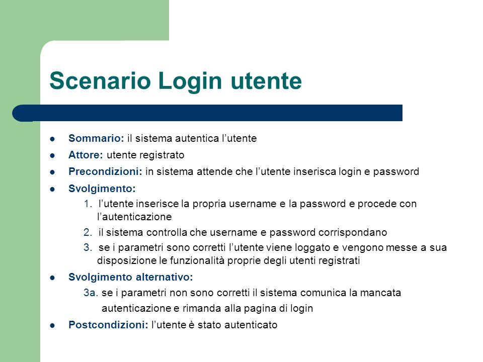 Scenario Login utente Sommario: il sistema autentica l'utente Attore: utente registrato Precondizioni: in sistema attende che l'utente inserisca login e password Svolgimento: 1.