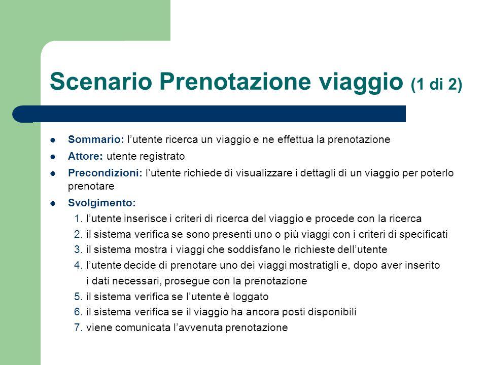 Scenario Prenotazione viaggio (1 di 2) Sommario: l'utente ricerca un viaggio e ne effettua la prenotazione Attore: utente registrato Precondizioni: l'