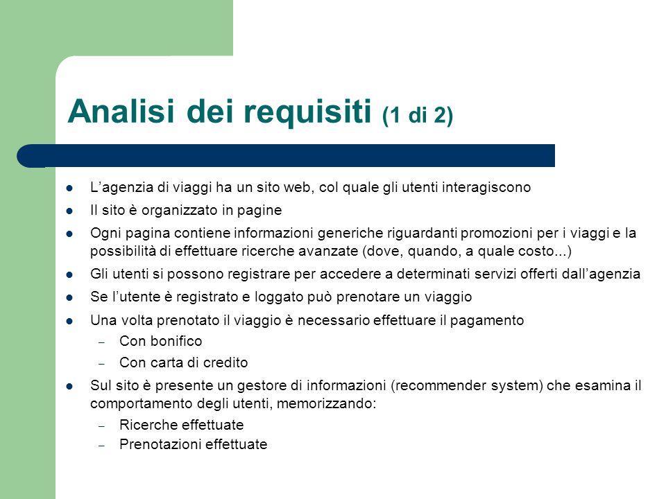 Analisi dei requisiti (1 di 2) L'agenzia di viaggi ha un sito web, col quale gli utenti interagiscono Il sito è organizzato in pagine Ogni pagina cont