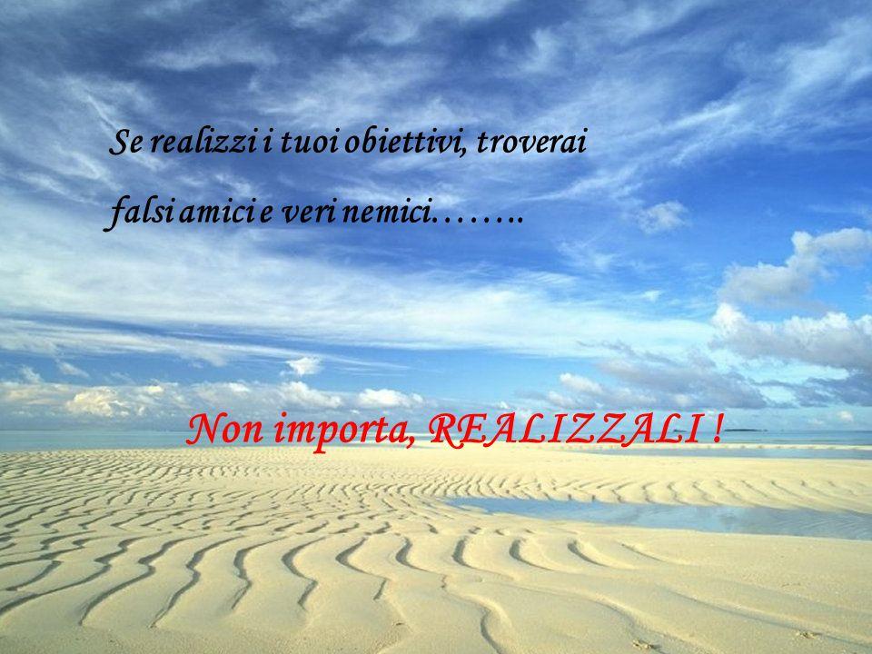 Se realizzi i tuoi obiettivi, troverai falsi amici e veri nemici…….. Non importa, REALIZZALI !