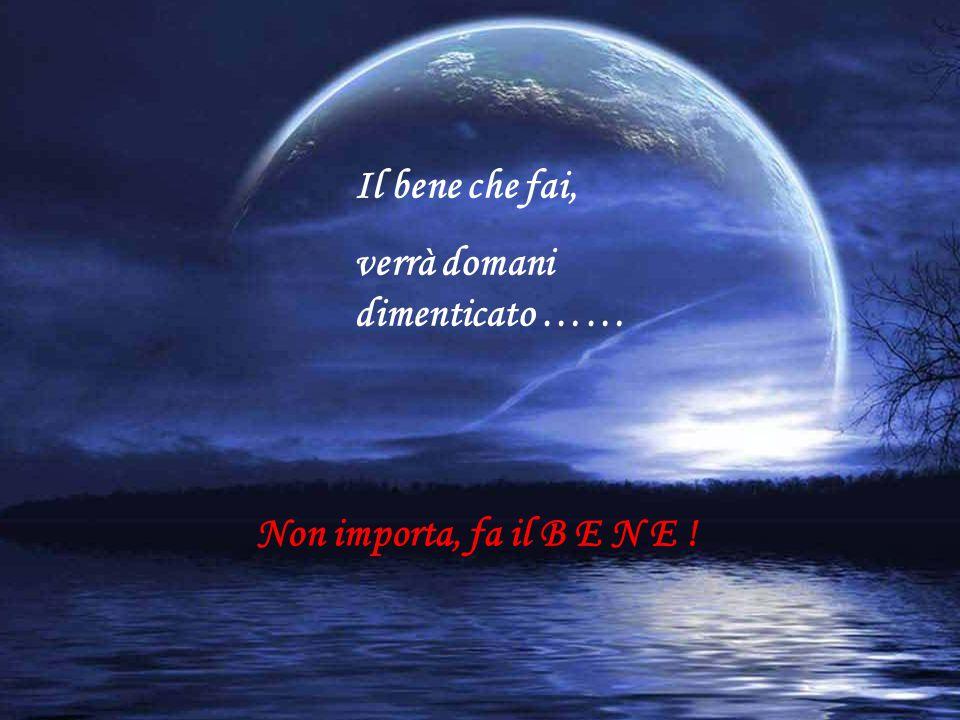 Il bene che fai, verrà domani dimenticato …… Non importa, fa il B E N E !