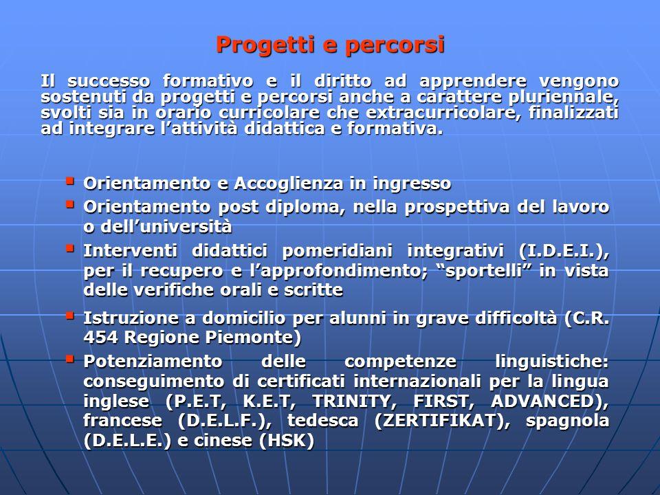 Il successo formativo e il diritto ad apprendere vengono sostenuti da progetti e percorsi anche a carattere pluriennale, svolti sia in orario curricol