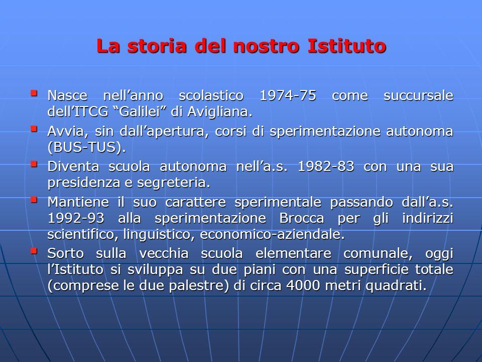 """La storia del nostro Istituto  Nasce nell'anno scolastico 1974-75 come succursale dell'ITCG """"Galilei"""" di Avigliana.  Avvia, sin dall'apertura, corsi"""
