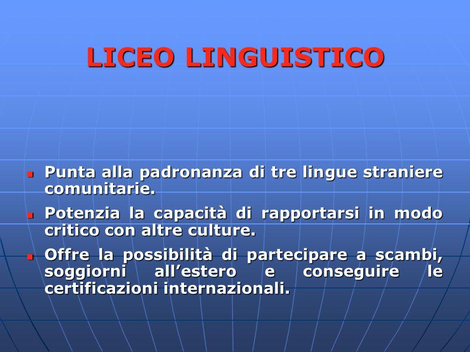 LICEO LINGUISTICO Punta alla padronanza di tre lingue straniere comunitarie. Punta alla padronanza di tre lingue straniere comunitarie. Potenzia la ca