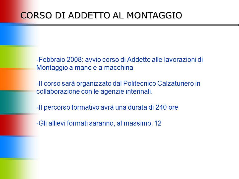 -Febbraio 2008: avvio corso di Addetto alle lavorazioni di Montaggio a mano e a macchina -Il corso sarà organizzato dal Politecnico Calzaturiero in collaborazione con le agenzie interinali.