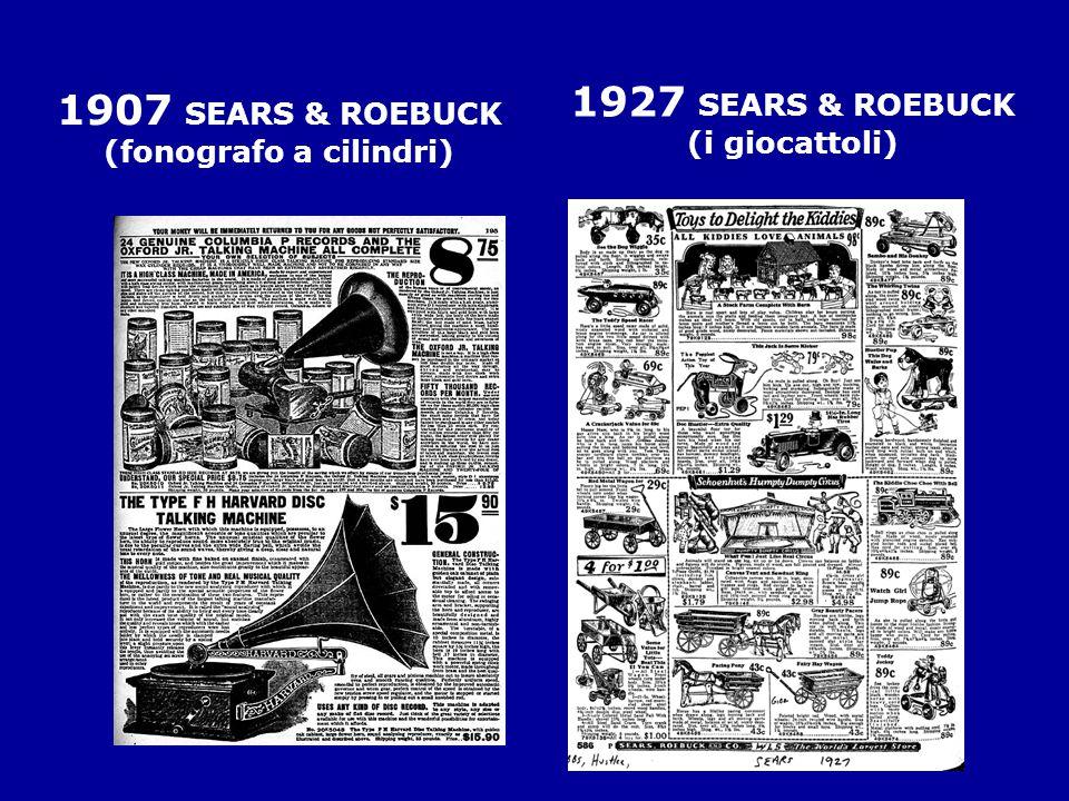 1907 SEARS & ROEBUCK (fonografo a cilindri) 1927 SEARS & ROEBUCK (i giocattoli)