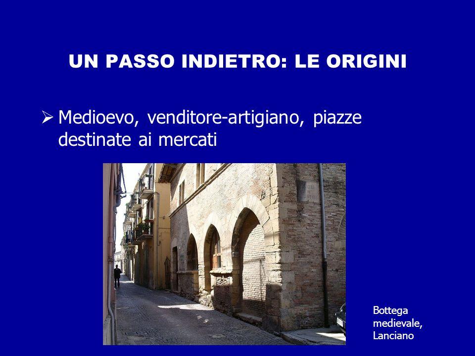 UN PASSO INDIETRO: LE ORIGINI  Medioevo, venditore-artigiano, piazze destinate ai mercati Bottega medievale, Lanciano