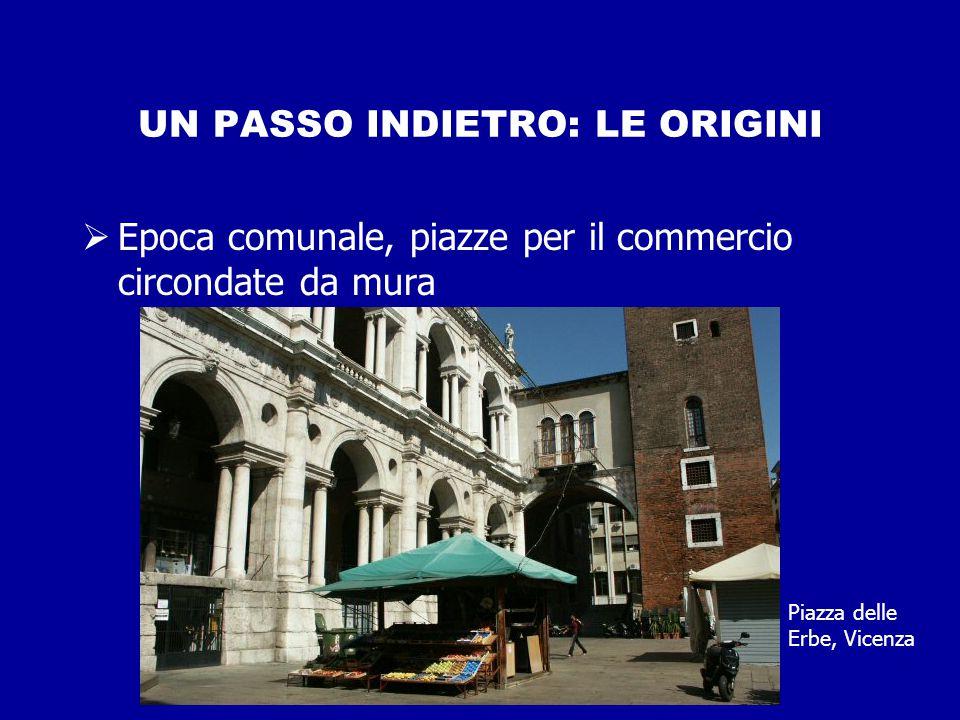 UN PASSO INDIETRO: LE ORIGINI  Epoca comunale, piazze per il commercio circondate da mura Piazza delle Erbe, Vicenza