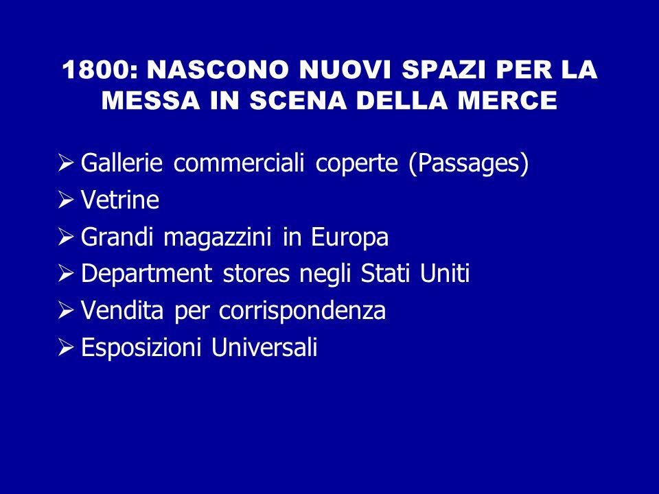 1800: NASCONO NUOVI SPAZI PER LA MESSA IN SCENA DELLA MERCE  Gallerie commerciali coperte (Passages)  Vetrine  Grandi magazzini in Europa  Departm