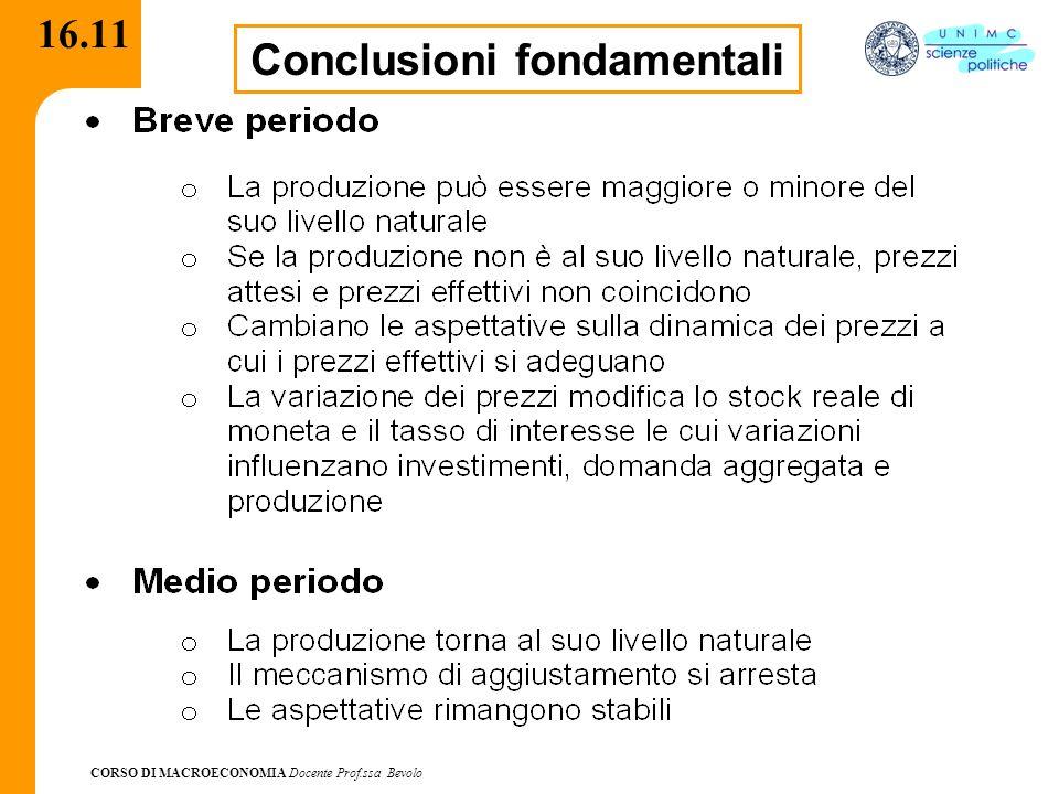 CORSO DI MACROECONOMIA Docente Prof.ssa Bevolo 16.11 Conclusioni fondamentali