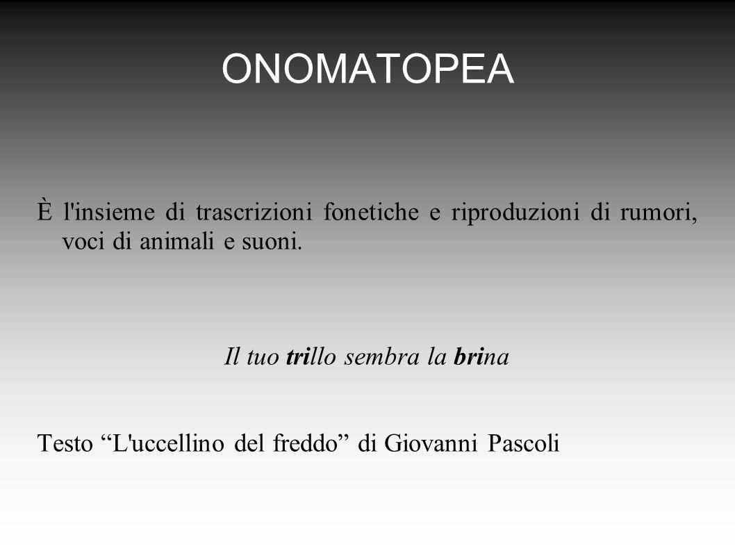 ONOMATOPEA È l insieme di trascrizioni fonetiche e riproduzioni di rumori, voci di animali e suoni.
