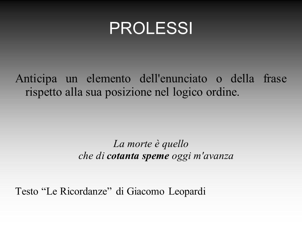 PROLESSI Anticipa un elemento dell enunciato o della frase rispetto alla sua posizione nel logico ordine.