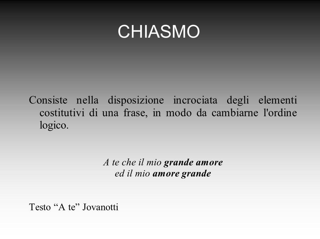 CHIASMO Consiste nella disposizione incrociata degli elementi costitutivi di una frase, in modo da cambiarne l ordine logico.