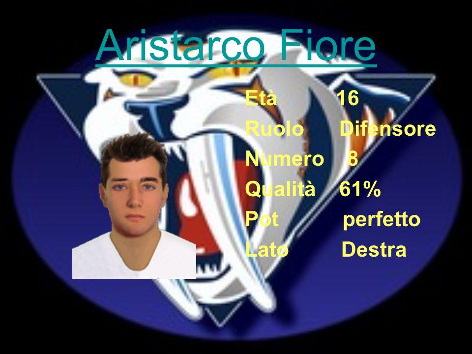 Aristarco Fiore Età 16 Ruolo Difensore Numero 8 Qualità 61% Pot perfetto Lato Destra