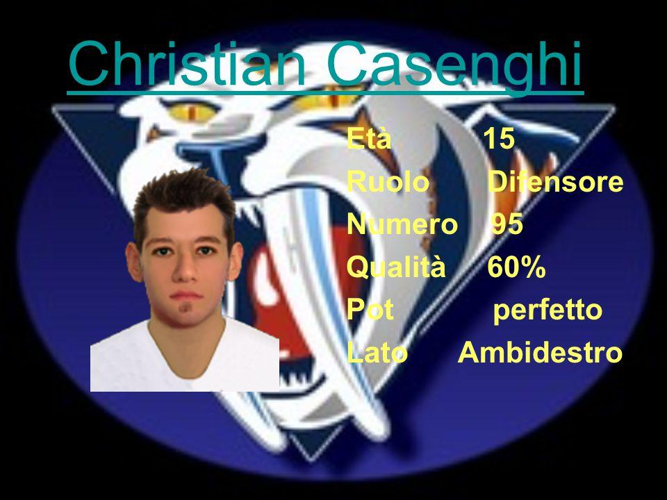 Christian Casenghi Età 15 Ruolo Difensore Numero 95 Qualità 60% Pot perfetto Lato Ambidestro