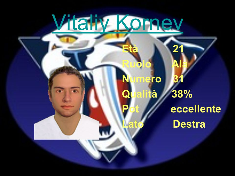 Vitaliy Kornev Età 21 Ruolo Ala Numero 31 Qualità 38% Pot eccellente Lato Destra