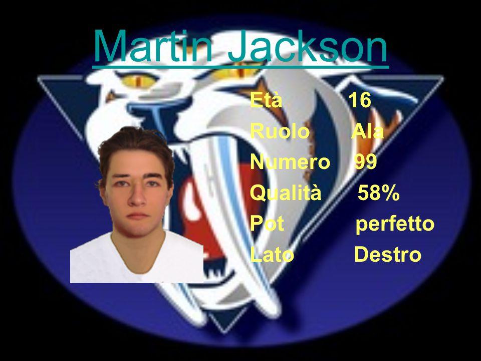 Martin Jackson Età 16 Ruolo Ala Numero 99 Qualità 58% Pot perfetto Lato Destro