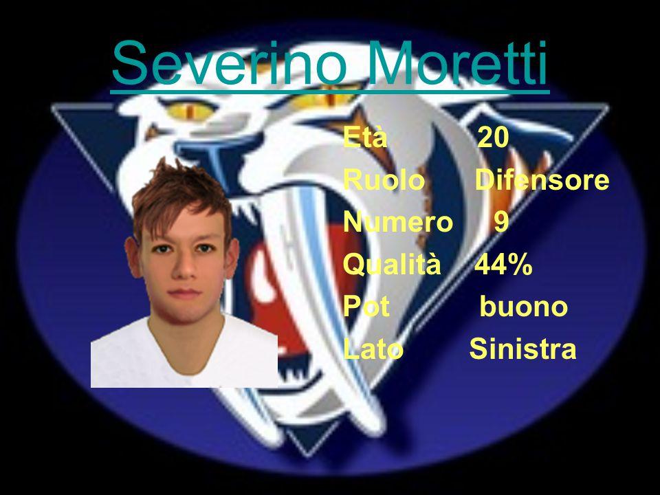 Severino Moretti Età 20 Ruolo Difensore Numero 9 Qualità 44% Pot buono Lato Sinistra