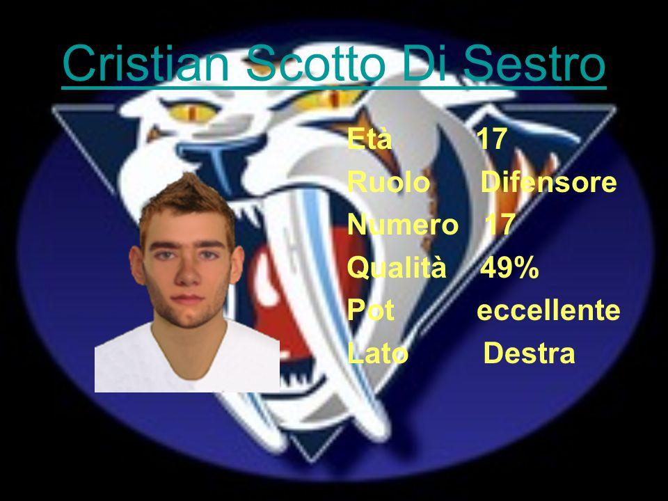 Cristian Scotto Di Sestro Età 17 Ruolo Difensore Numero 17 Qualità 49% Pot eccellente Lato Destra