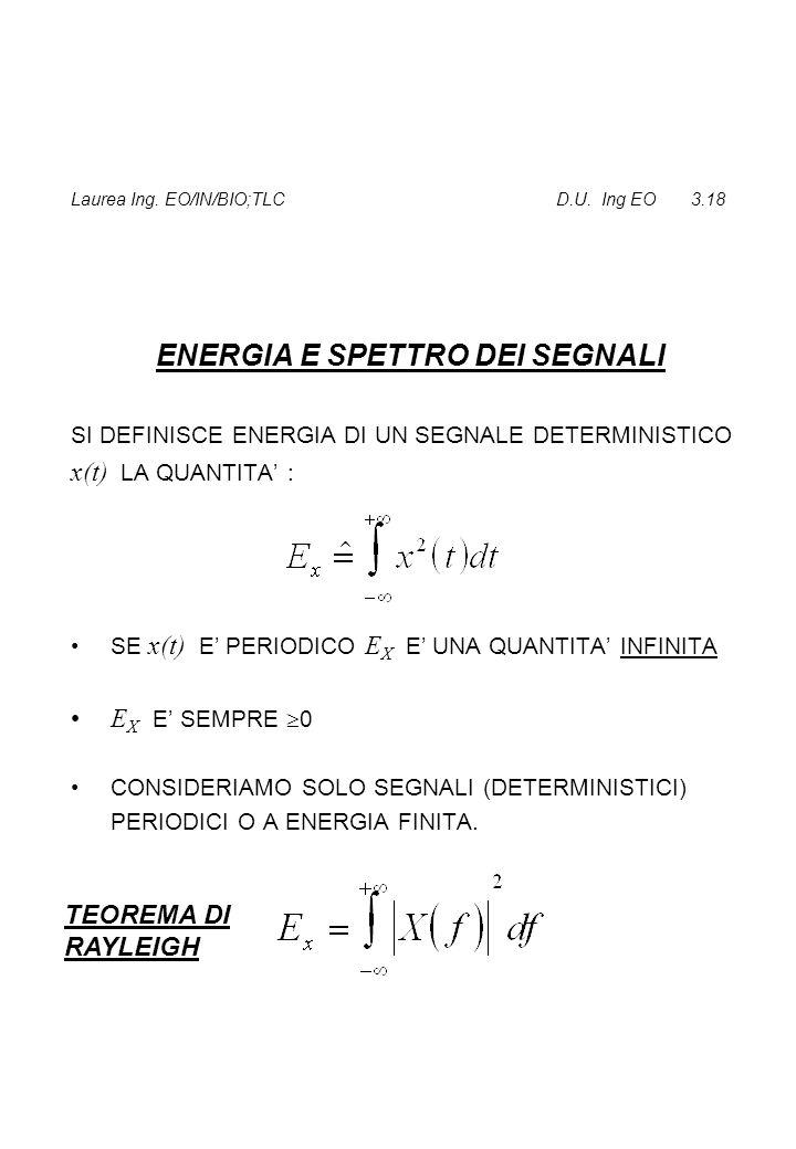 Laurea Ing. EO/IN/BIO;TLC D.U. Ing EO 3.18 ENERGIA E SPETTRO DEI SEGNALI SI DEFINISCE ENERGIA DI UN SEGNALE DETERMINISTICO x(t) LA QUANTITA' : SE x(t)