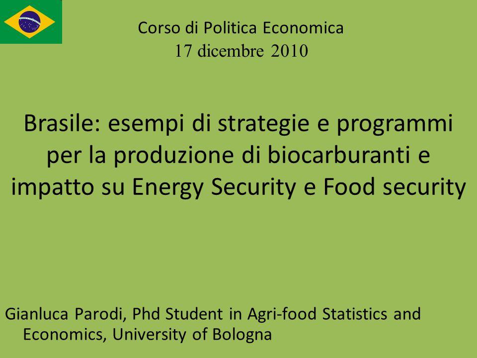 Gianluca Parodi, Phd Student in Agri-food Statistics and Economics, University of Bologna Corso di Politica Economica 17 dicembre 2010 Brasile: esempi