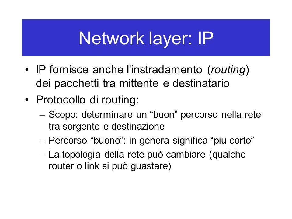 Network layer: IP IP fornisce anche l'instradamento (routing) dei pacchetti tra mittente e destinatario Protocollo di routing: –Scopo: determinare un buon percorso nella rete tra sorgente e destinazione –Percorso buono : in genera significa più corto –La topologia della rete può cambiare (qualche router o link si può guastare)