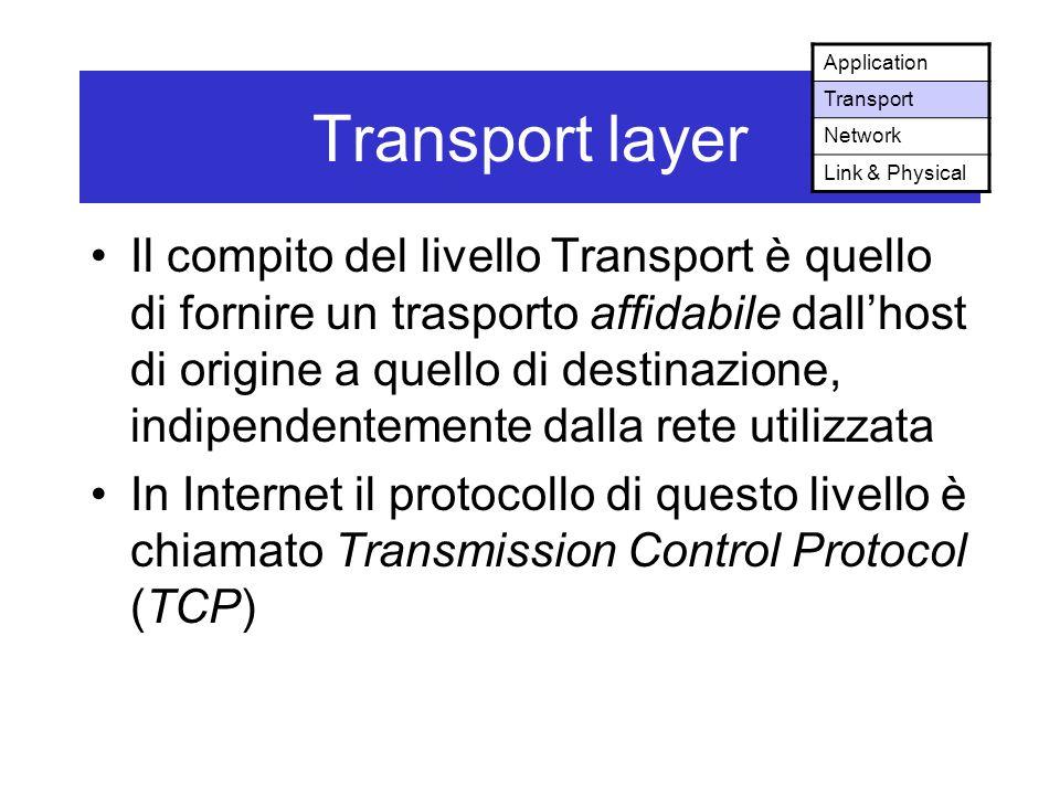 Transport layer Il compito del livello Transport è quello di fornire un trasporto affidabile dall'host di origine a quello di destinazione, indipendentemente dalla rete utilizzata In Internet il protocollo di questo livello è chiamato Transmission Control Protocol (TCP) Application Transport Network Link & Physical