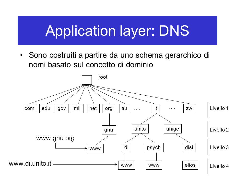 Application layer: DNS Sono costruiti a partire da uno schema gerarchico di nomi basato sul concetto di dominio gnu comedugovmilnetorgauitzw unitounige dipsych www disi elios www … … www.gnu.org www.di.unito.it root Livello 1 Livello 2 Livello 3 Livello 4