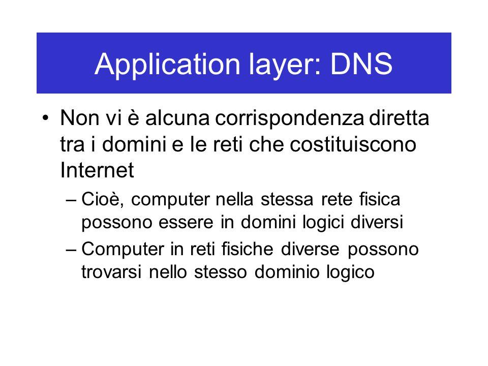 Application layer: DNS Non vi è alcuna corrispondenza diretta tra i domini e le reti che costituiscono Internet –Cioè, computer nella stessa rete fisica possono essere in domini logici diversi –Computer in reti fisiche diverse possono trovarsi nello stesso dominio logico