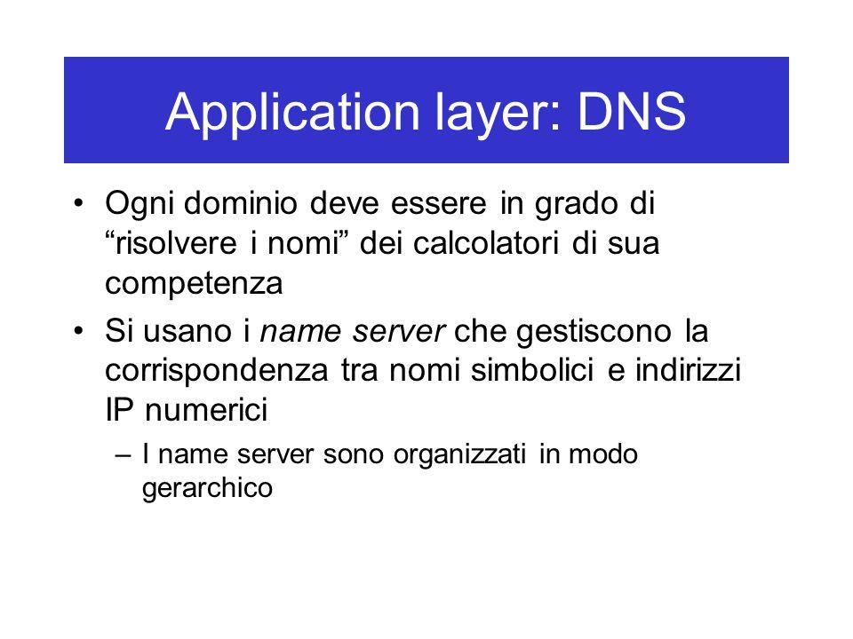 Application layer: DNS Ogni dominio deve essere in grado di risolvere i nomi dei calcolatori di sua competenza Si usano i name server che gestiscono la corrispondenza tra nomi simbolici e indirizzi IP numerici –I name server sono organizzati in modo gerarchico