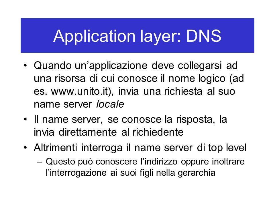 Application layer: DNS Quando un'applicazione deve collegarsi ad una risorsa di cui conosce il nome logico (ad es.