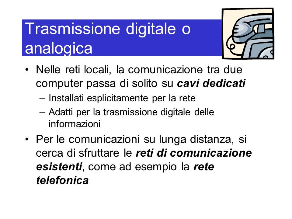 Trasmissione digitale o analogica Nelle reti locali, la comunicazione tra due computer passa di solito su cavi dedicati –Installati esplicitamente per la rete –Adatti per la trasmissione digitale delle informazioni Per le comunicazioni su lunga distanza, si cerca di sfruttare le reti di comunicazione esistenti, come ad esempio la rete telefonica