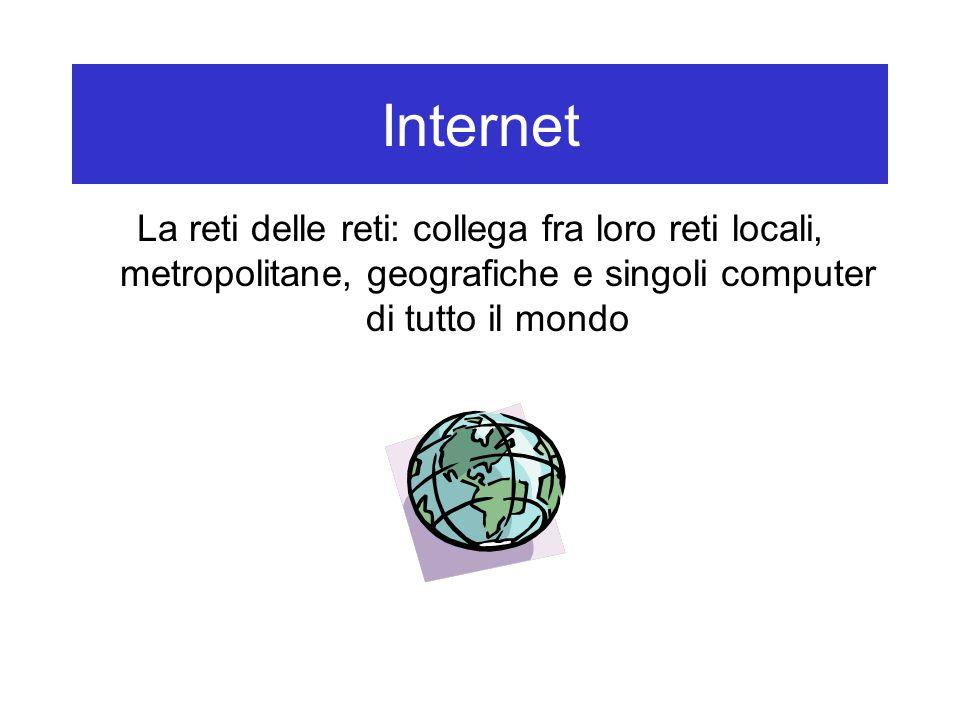 Internet La reti delle reti: collega fra loro reti locali, metropolitane, geografiche e singoli computer di tutto il mondo