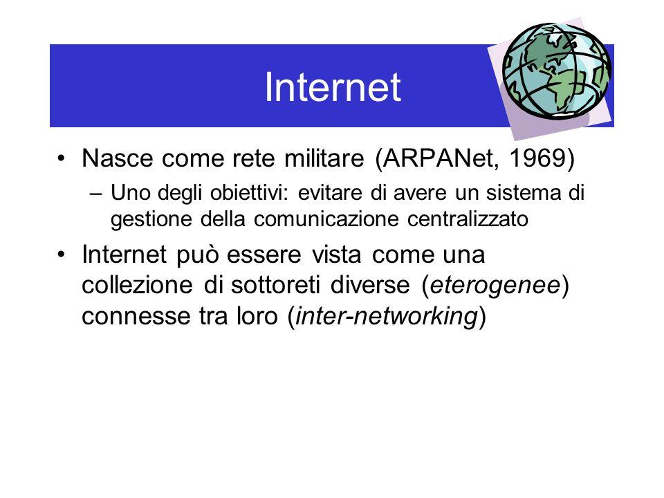 Internet Nasce come rete militare (ARPANet, 1969) –Uno degli obiettivi: evitare di avere un sistema di gestione della comunicazione centralizzato Internet può essere vista come una collezione di sottoreti diverse (eterogenee) connesse tra loro (inter-networking)