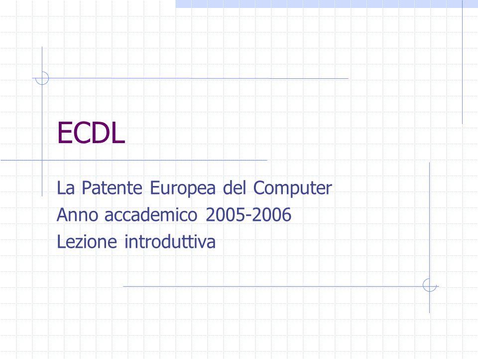 ECDL La Patente Europea del Computer Anno accademico 2005-2006 Lezione introduttiva