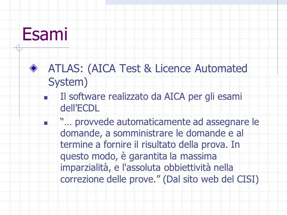 Esami ATLAS: (AICA Test & Licence Automated System) Il software realizzato da AICA per gli esami dell'ECDL … provvede automaticamente ad assegnare le domande, a somministrare le domande e al termine a fornire il risultato della prova.
