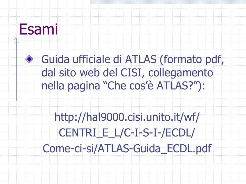 Esami Guida ufficiale di ATLAS (formato pdf, dal sito web del CISI, collegamento nella pagina Che cos'è ATLAS ): http://hal9000.cisi.unito.it/wf/ CENTRI_E_L/C-I-S-I-/ECDL/ Come-ci-si/ATLAS-Guida_ECDL.pdf
