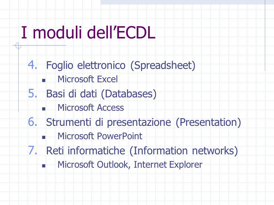 I moduli dell'ECDL 4. Foglio elettronico (Spreadsheet) Microsoft Excel 5.