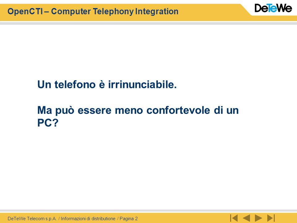 OpenCTI – Computer Telephony Integration DeTeWe Telecom s.p.A. / Informazioni di distributione / Pagina 2 Un telefono è irrinunciabile. Ma può essere