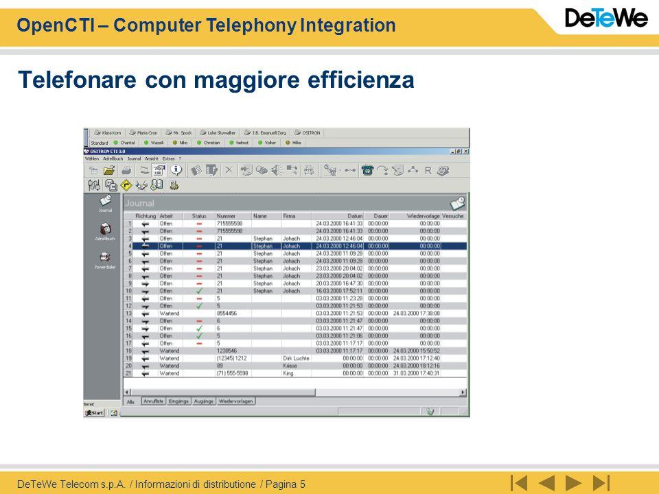 OpenCTI – Computer Telephony Integration DeTeWe Telecom s.p.A. / Informazioni di distributione / Pagina 5 Telefonare con maggiore efficienza