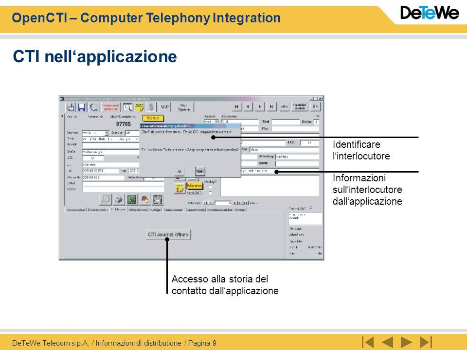 OpenCTI – Computer Telephony Integration DeTeWe Telecom s.p.A. / Informazioni di distributione / Pagina 9 Identificare l'interlocutore Informazioni su