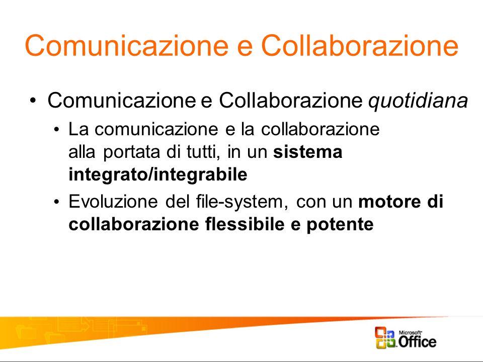 Comunicazione e Collaborazione quotidiana La comunicazione e la collaborazione alla portata di tutti, in un sistema integrato/integrabile Evoluzione del file-system, con un motore di collaborazione flessibile e potente