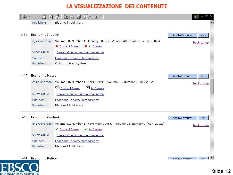 Slide 12 LA VISUALIZZAZIONE DEI CONTENUTI