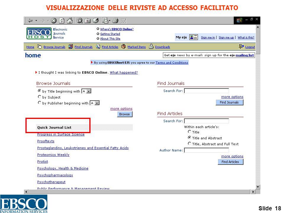 Slide 18 VISUALIZZAZIONE DELLE RIVISTE AD ACCESSO FACILITATO