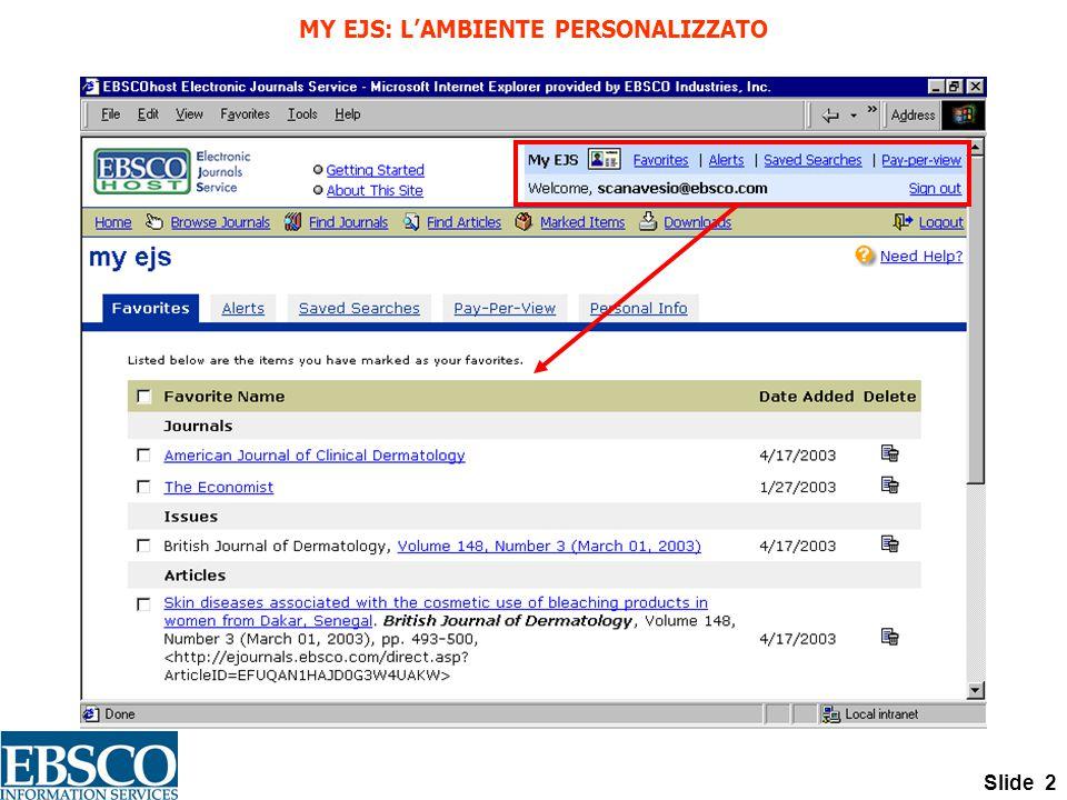 Slide 2 MY EJS: L'AMBIENTE PERSONALIZZATO