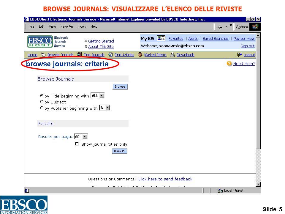 Slide 5 BROWSE JOURNALS: VISUALIZZARE L'ELENCO DELLE RIVISTE